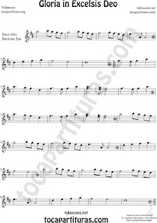 Saxofón Alto y Sax Barítono Partitura de Gloria in excelsis deo Villancico Sheet Music for Alto and Baritone Saxophone Music Scores