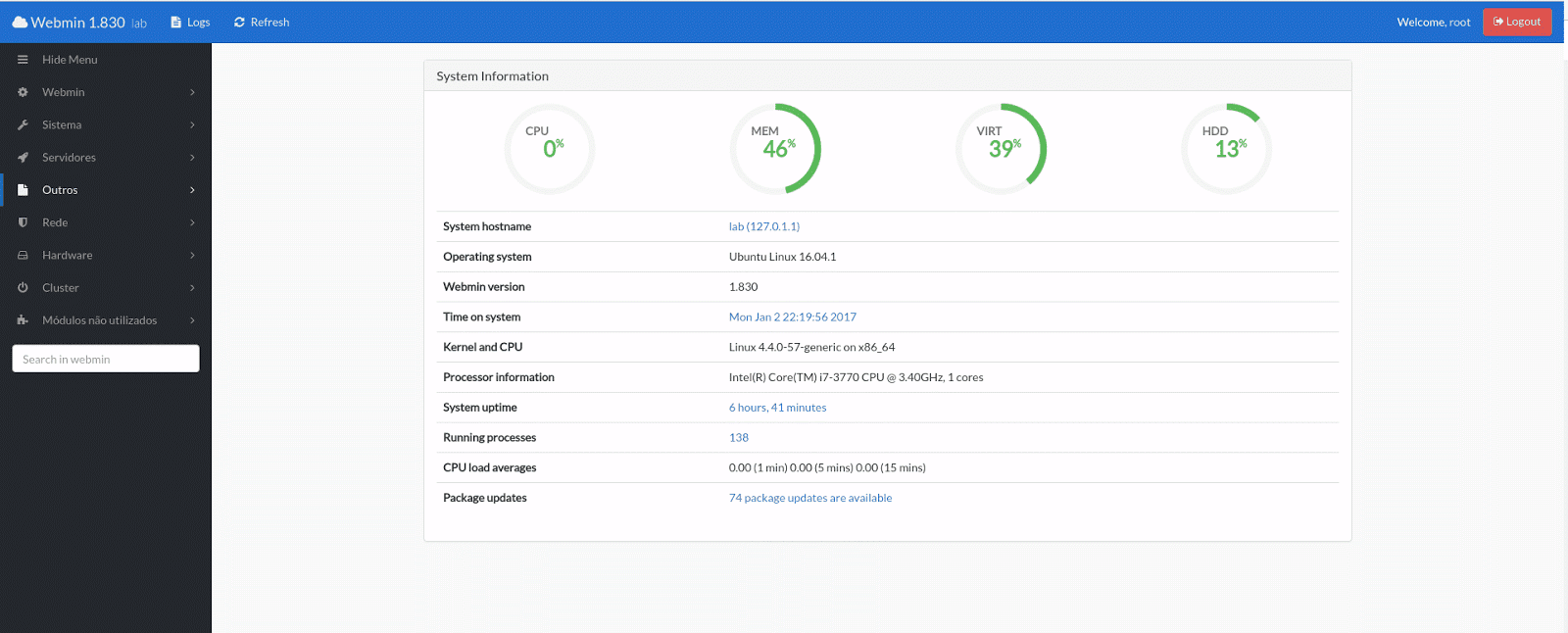 Instalando e customizando o Webmin