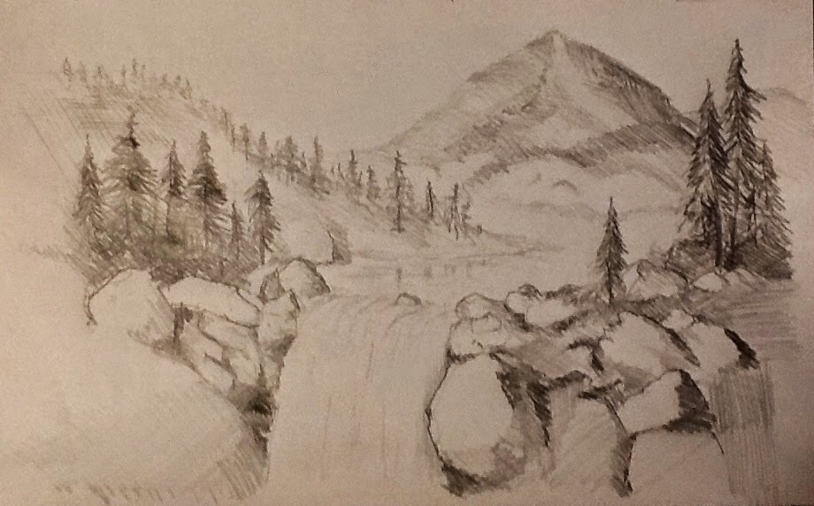 A creative journey by michael mitchell mountain landscape pencil sketch