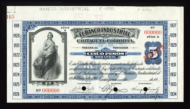 5 Colombian pesos banknote billete