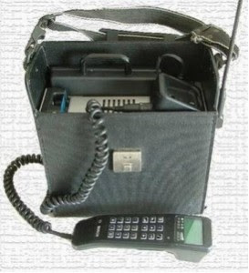 briefcase phone, bag, heavy, original, genesis, first cell phone