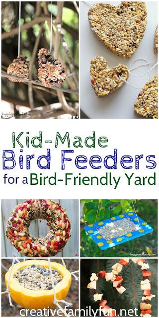 Create a bird-friendly yard with these kid-made DIY bird feeders.