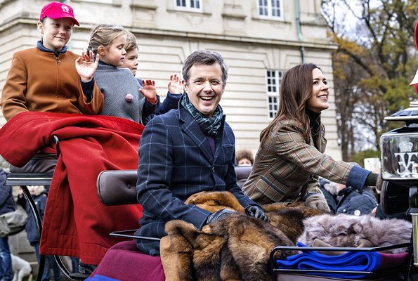 Crown Princess Mary, Princess Isabella, Prince Vincent and Princess Josephine. Crown Princess Mary wore Dubarry Blackthorn tweed coat