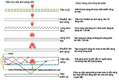 Hình 8 - Chức năng của các lớp trong bộ phận tạo ánh sáng nền.