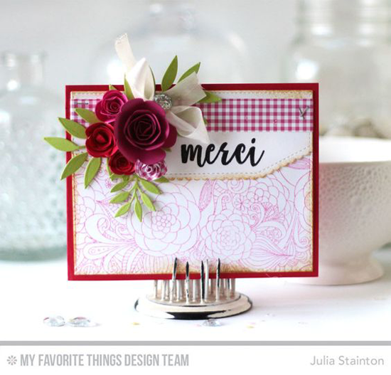 Handmade card from Julia Stainton featuring Well-Connected Alphabet stamp set, Floral Fantasy Background stamp, Stitched Scallop Basic Edges 2, Mini Rolled Roses, Rolled Rose, Leafy Greenery, and Blueprints 13 Die-namics #mftstamps