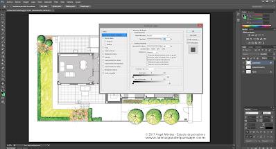 sketch architecture photoshop, dibujo jardines, planos de jardinería, planos paisajismo, dibujar plantas, rotuladores acuarelables, proyectos de paisajismo, diseño jardines