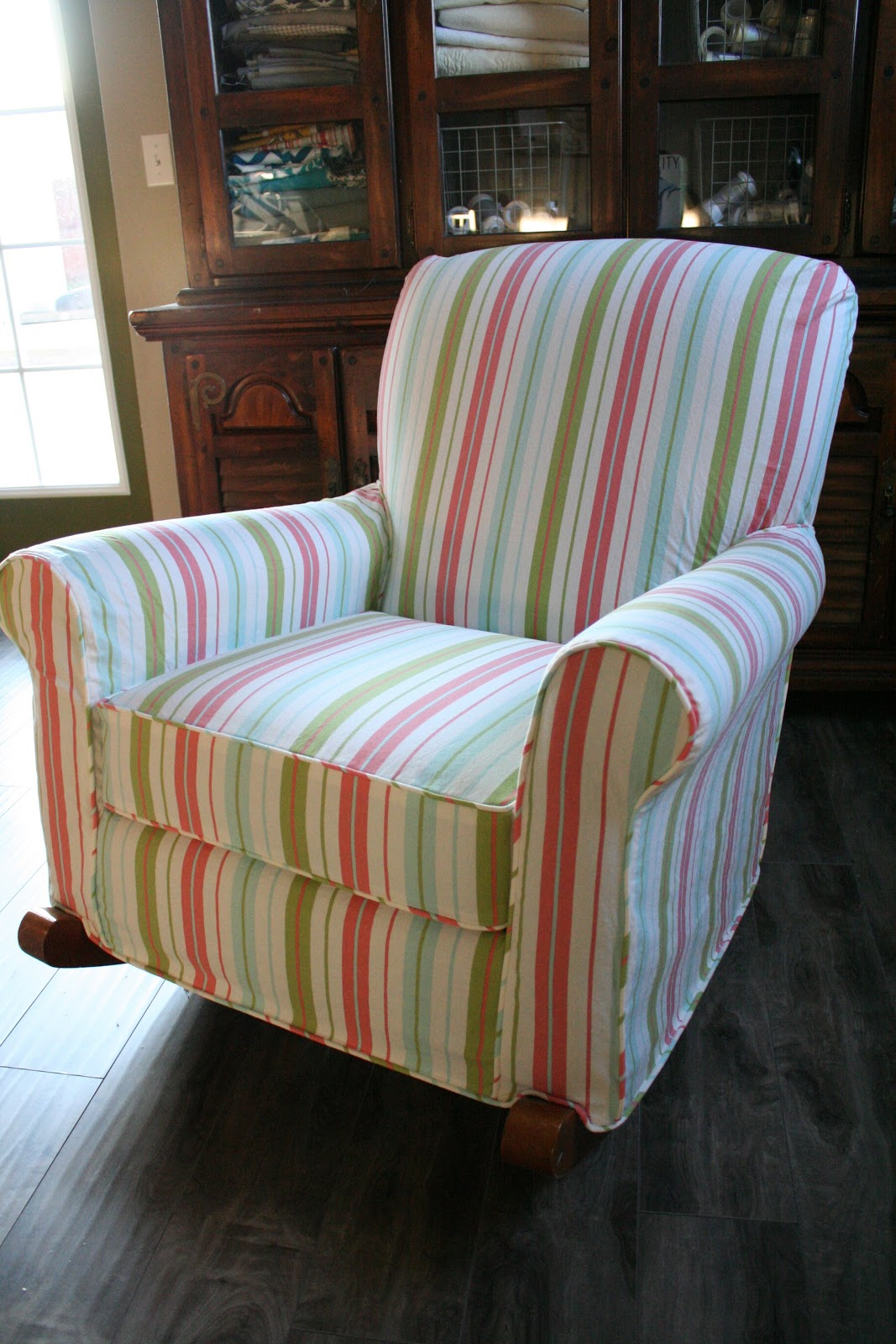 Blue And White Striped Chair Custom Slipcovers By Shelley Striped Upholstered Rocker