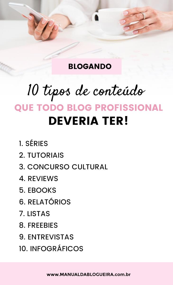 tipos de conteúdo para blog