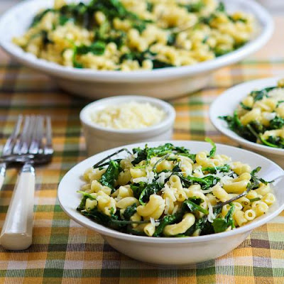 Macaroni with Greens, Lemon, and Parmesan found on KalynsKitchen.com