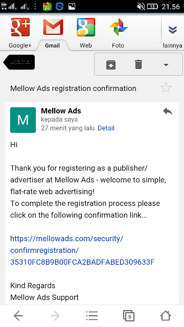 Mellows Ads Confirmasi email