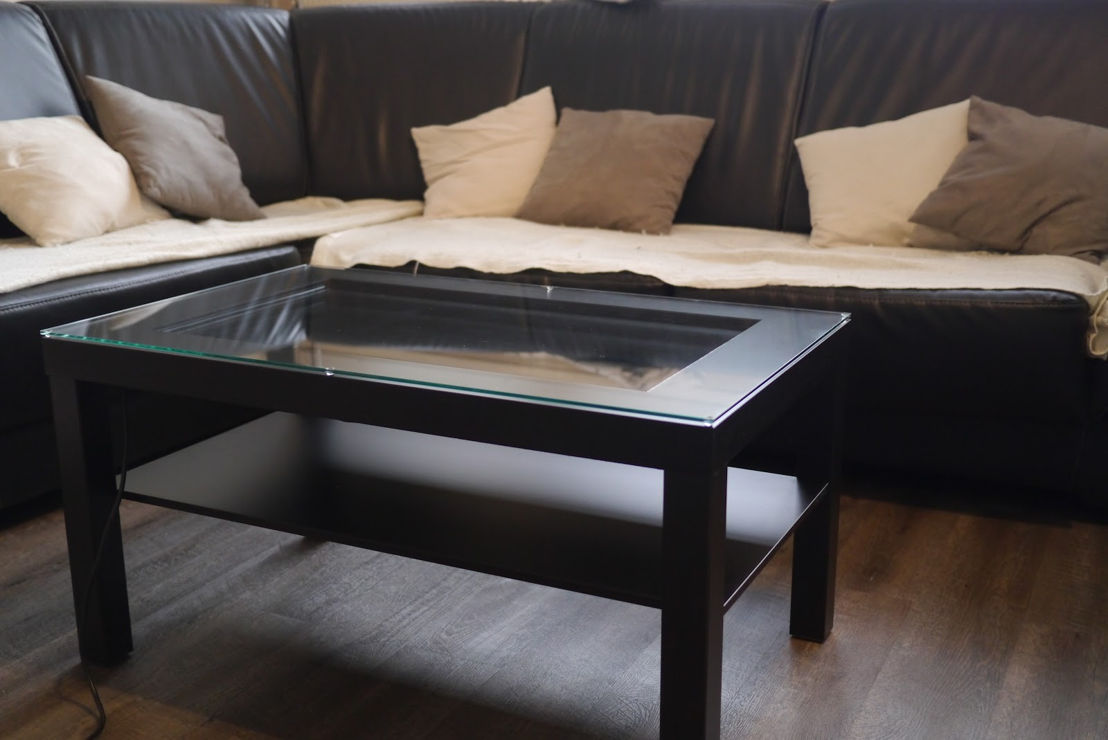 Le diy de droofy table basse tactile v2 pqlab - Table basse plateau verre ...