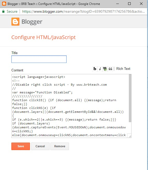 How to disable right click in blogger