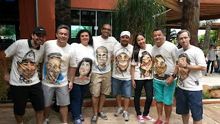 caricaturas em camiseta, evento corporativo