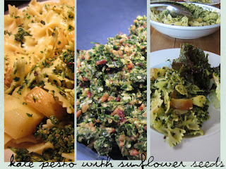 Kale Pesto with Sunflower Seeds on Pasta and Potatoes