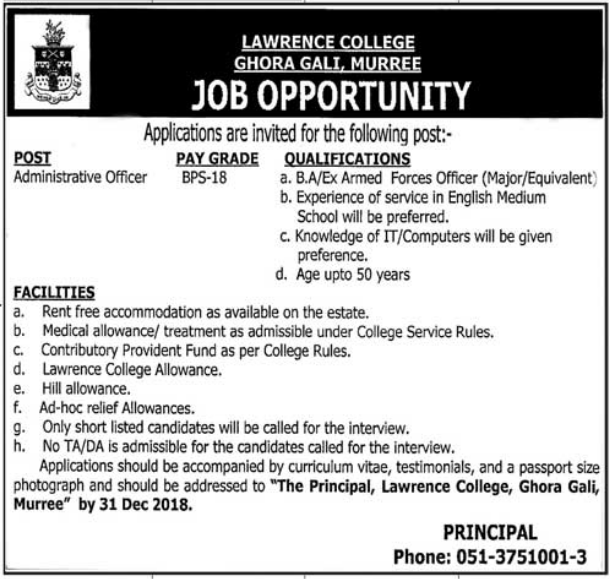 #Jobs - #Career_Opportunities - #Job Opportunities in Lawrence College Gohra Gali, Muree  – for details visit the link