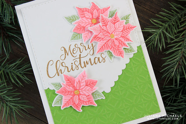 Merry Christmas Card by Juliana Michaels featuring Sunny Studio Stamps Petite Poinsettia Stamp Set and Fishtail Banners II Die