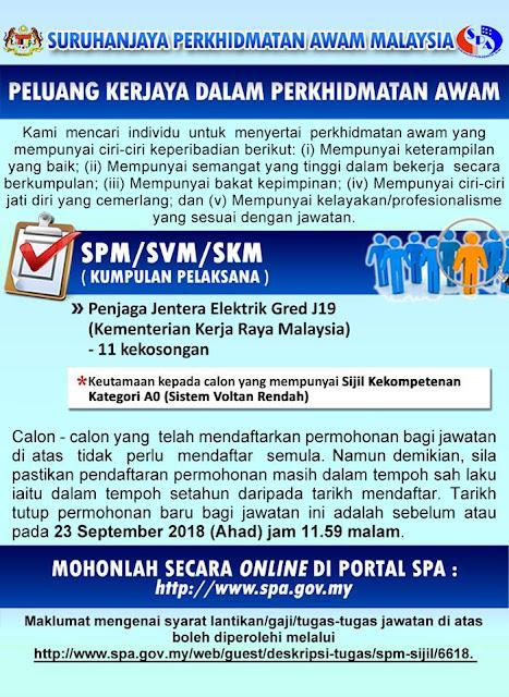 Jawatan Kosong kerajaaan iaitu di Kementerian Kerja Raya Malaysia (KKR)