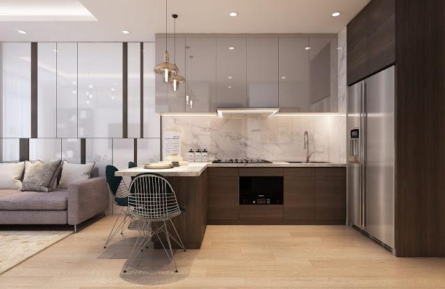 Thiết kế chung căn hộ Sơn Trà Ocean View 1 phòng ngủ - Phòng bếp