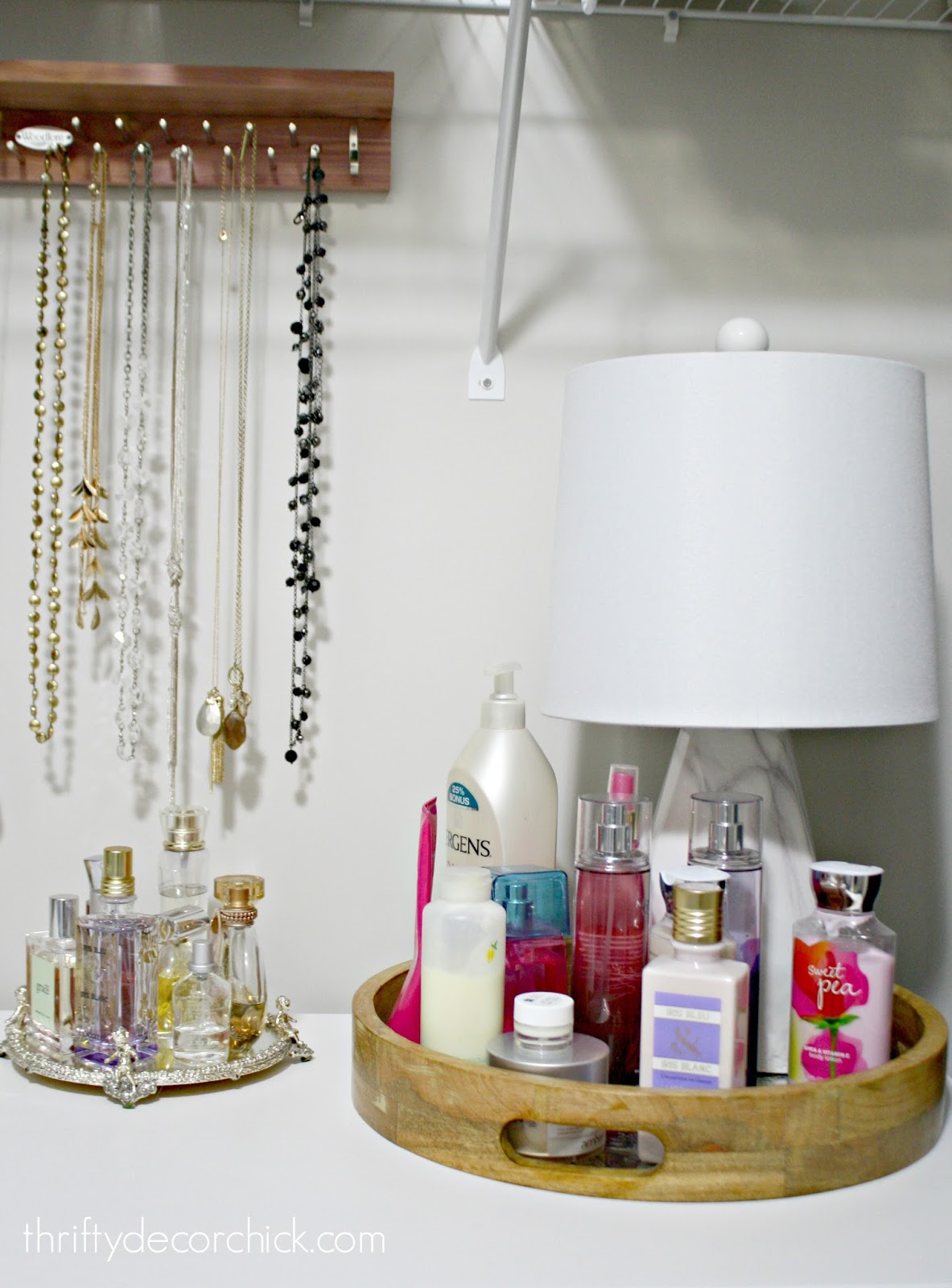 Displaying lotions and perfume