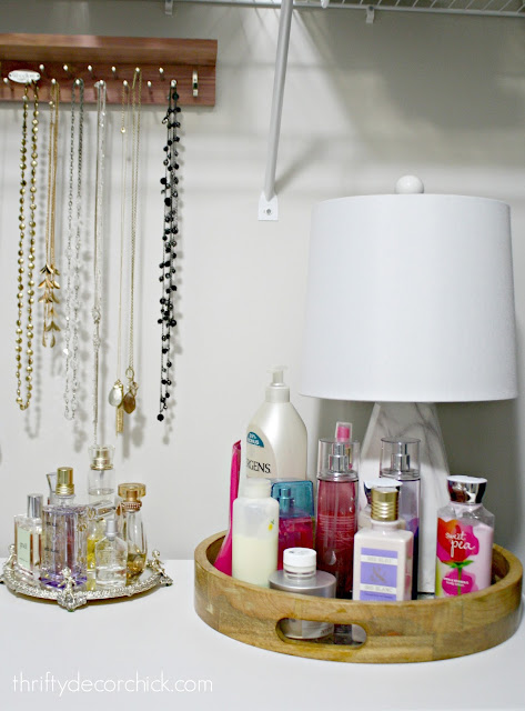 Displaying lotions and perfume