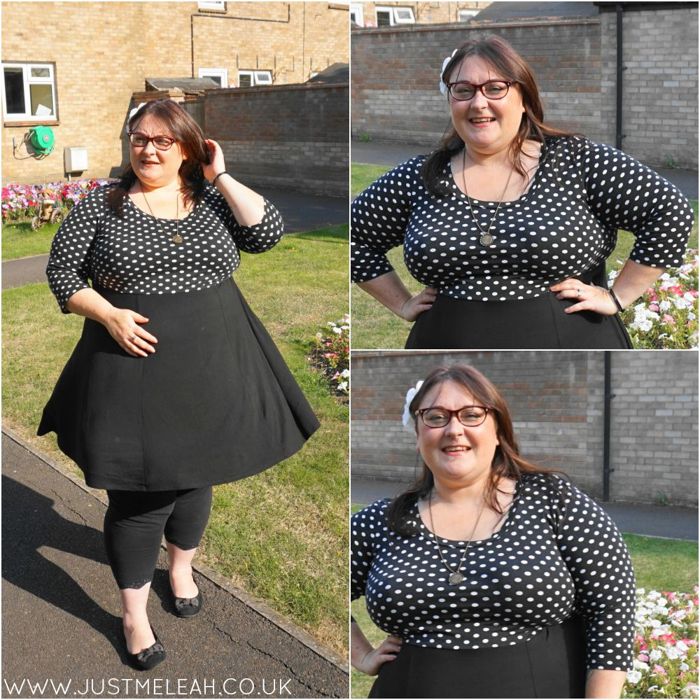 PLUS SIZE BLACK POLKA DOT DRESS