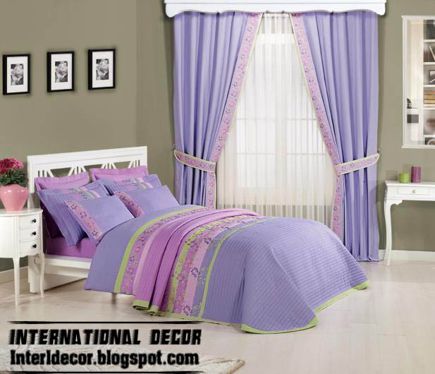 Purple Kids Room: Stylish Kids Room Curtains With Duvet Sets Models Colors