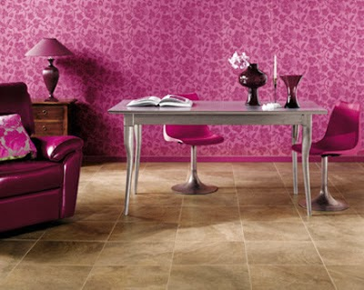 oficina rosa y gris