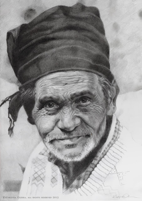 Man in India - pencil on paper, on the basis of Sergey Grey's photo, A3, 2015