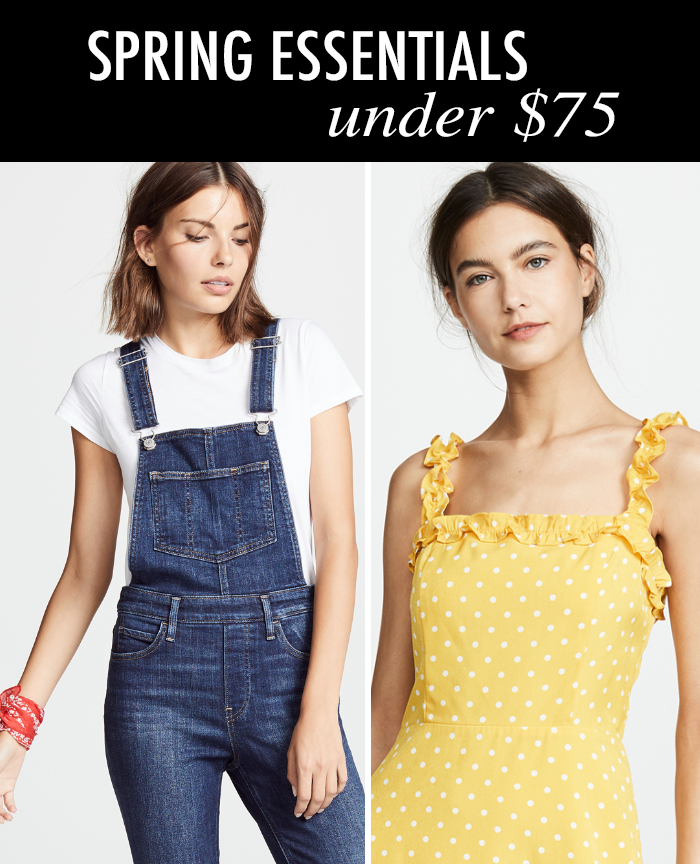 levis skinny overalls, yellow midi dress, spring wardrobe essentials