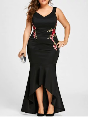 Plus Size Sleeveless V Neck Mermaid Dress