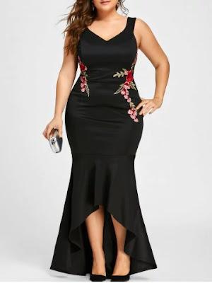 Plus Size Sleeveless V Neck Mermaid Dress