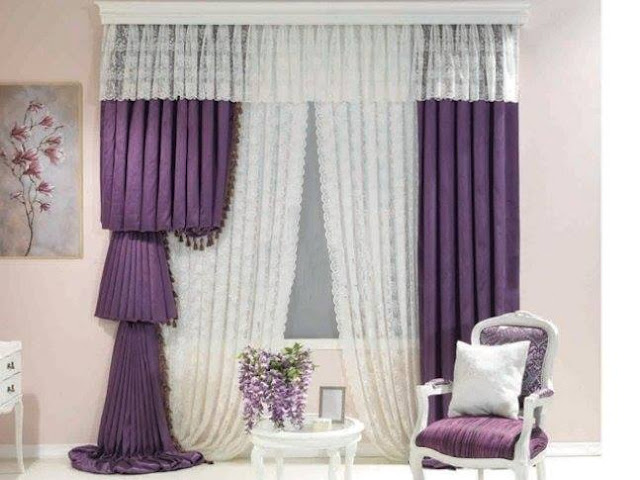 purple and white curtains- purple curtain designs for living room