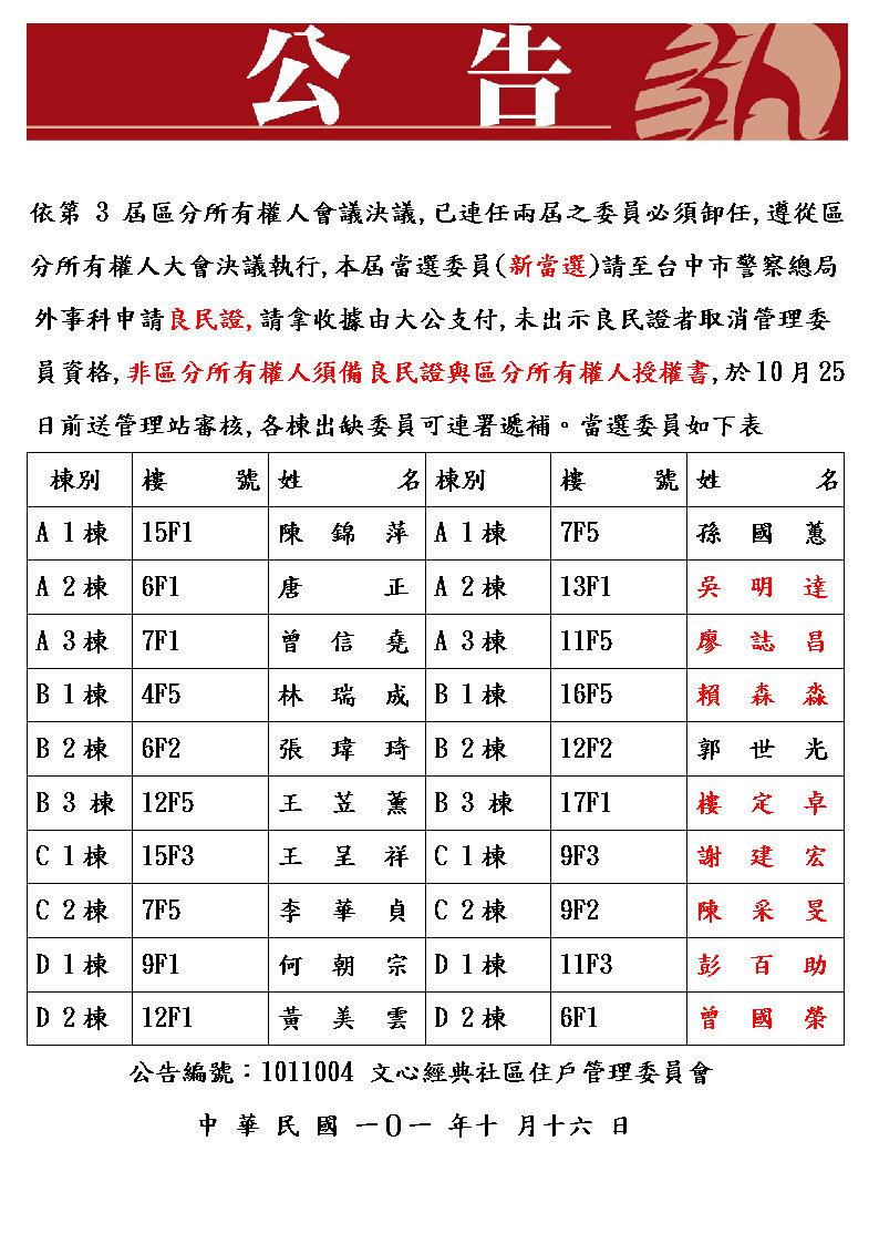 『文心經典 社區管理委員會』/ 忠正物業保全 駐衛管理: 2012/10/14 - 2012/10/21