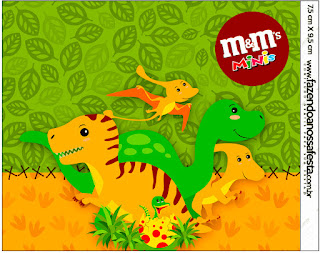 Dinosaurs Party Free Printable M&M Candy Bar Labels.
