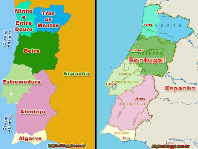 Mapa das regiões de Portugal e principais cidades