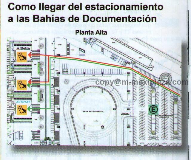 Como llegar del estacionamiento a las Bahías de Documentación - AICM - Terminal 2