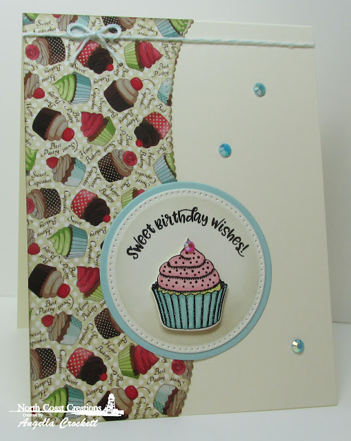 NCC Sprinkled With Love Stamps & Dies, NCC Sweet Shoppe Paper Collection, ODBD Custom Leafy Edged Borders Dies, ODBD Custom Pierced Circles Dies, ODBD Custom Circles Dies, Card Designer Angie Crockett