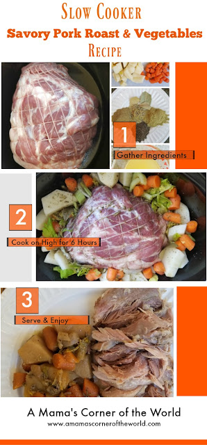 Pinnable Image for a slow cooker savory pork roast & vegetable recipe