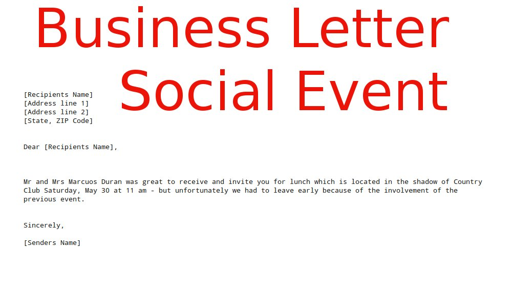 business letter social event ~ samples business letters