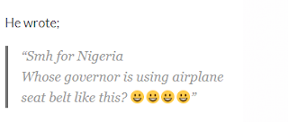 See How Nigerian DJ mocks Kano State governor's airplane seat belt position (Photo)