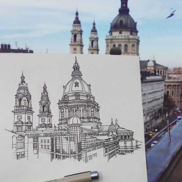Maxwell Tilse ilustra brillantemente cada ciudad que visita al rededor del mundo