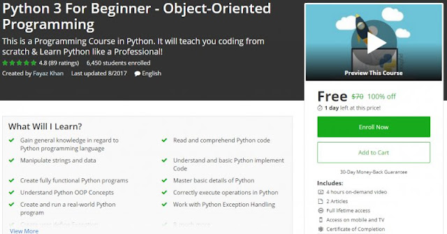[100% Off] Python 3 For Beginner - Object-Oriented Programming| Worth 70$
