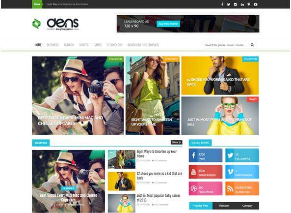 beautiful dens blogger template