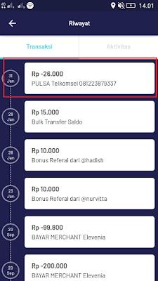 Bukti Pembayaran Pulsa Gratis dari Aplikasi Pede Android