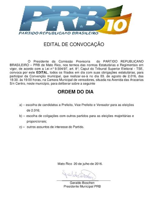 Mato Rico: PRB, PR, PSC, PSL e PT de Mato Rico, publicam editais de suas convenções municipais