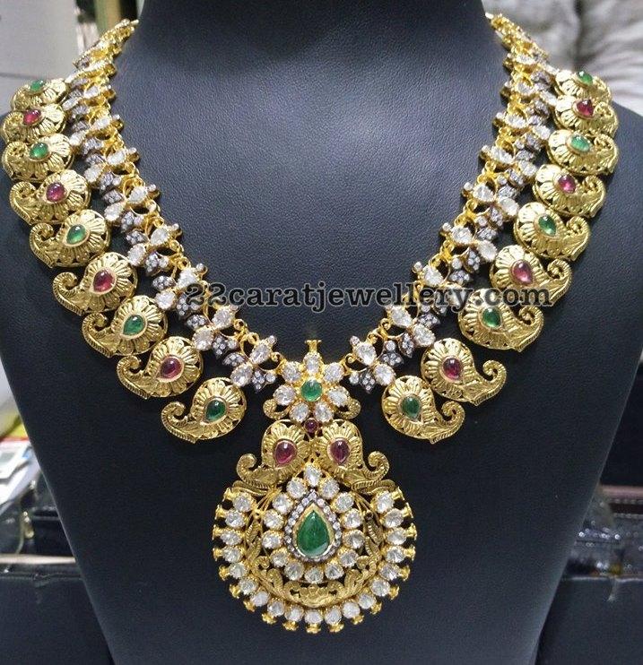 Paisley Design Pachi Work Necklaces Jewellery Designs