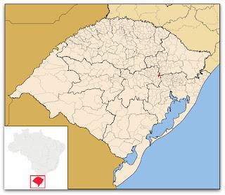 Cidade de Westfália, no mapa do Rio Grande do Sul