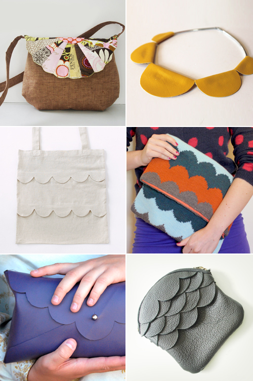 DIY scalloped bag and necklace tutorials