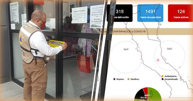 hombre clausura local comercial en Ensenada