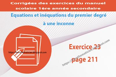 Exercice 23 page 211 - Equations et inéquations du premier degré à une inconnue